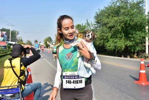 Во время марафона тайская спортсменка нашла щенка и пробежала с ним в руках оставшиеся 30 км (4 фото + видео)