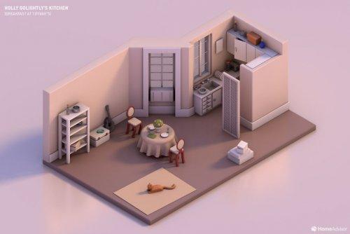 Знаменитые киношные кухни, воссозданные с помощью 3D-моделирования (7 фото)