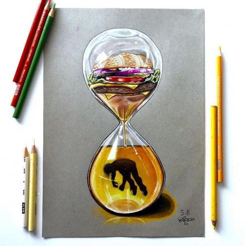 Художник создаёт критические иллюстрации, изображающие современное общество и технологии (9 фото)