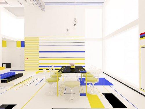 Болгарские дизайнеры оформили интерьер квартиры, вдохновившись абстрактными картинами Пита Мондриани (16 фото)