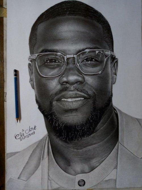 Талантливый нигерийский художник нарисовал реалистичный портрет Кевина Харта, и американский актёр ответил ему в Twitter (11 фото)
