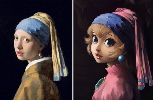 Художница воссоздаёт классические картины с персонажами поп-культуры (13 фото)