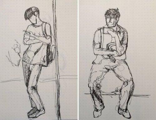 Чтобы не скучать по дороге на работу, китайский художник рисует эскизы своих попутчиков (10 фото)