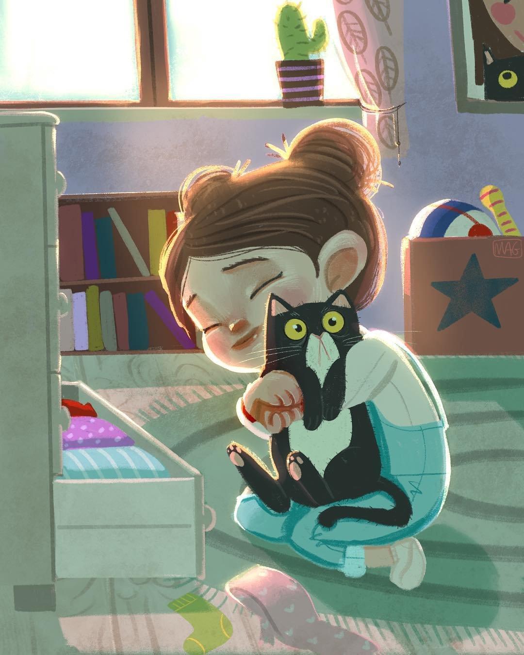 Жизнь с кошками в иллюстрациях итальянской художницы Маргериты Грассо