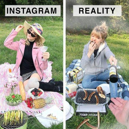 """Весёлая немка продолжает разоблачать """"идеальные"""" фотографии из Instagram (18 фото)"""