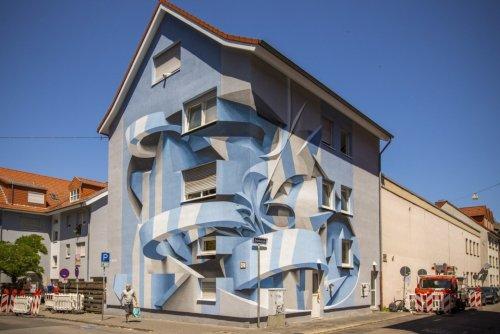 Итальянский художник сочетает граффити с абстрактными формами, создавая настенные рисунки с оптической иллюзией (8 фото)