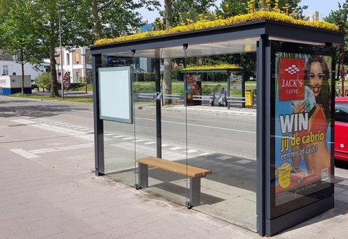 """В Утрехте появились автобусные остановки с """"зелёными"""" крышами ради поддержания популяции пчёл (3 фото)"""
