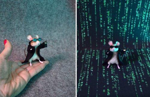 Художница по текстилю превратила войлочных мышек в известных персонажей и героев поп-культуры (12 фото)