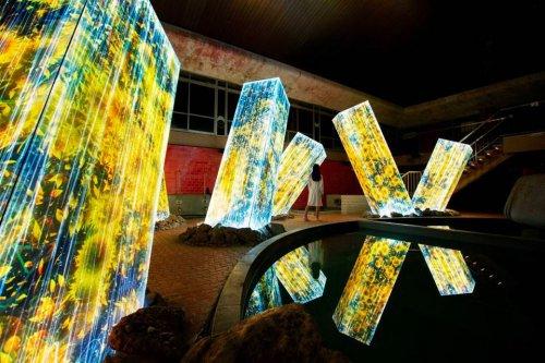 Красочная инсталляция со светящимися колоннами в Японии (7 фото + видео)