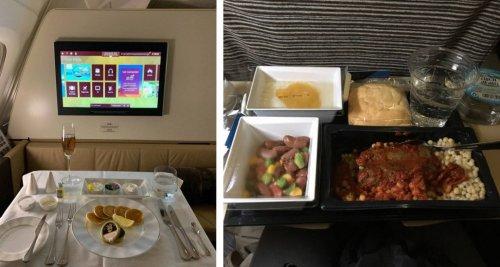 Питание в бизнес-классе vs. еда в эконом-классе в разных авиакомпаниях (36 фото)