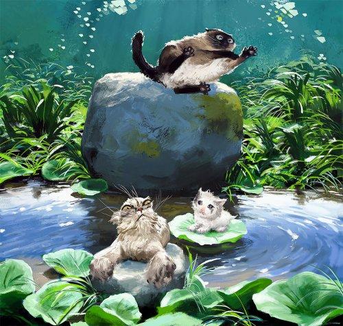 Норвежский художник пишет картины с самыми популярными Интернет-кошками (8 фото)