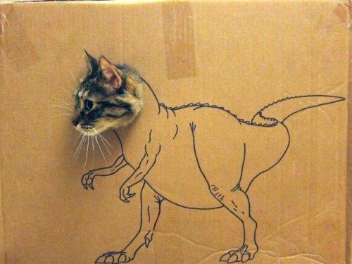 Картонный косплей для кошки (18 фото)