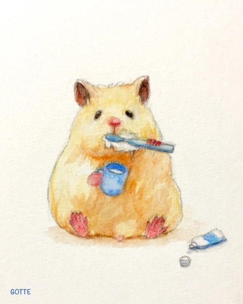 Японский художник изображает своего домашнего хомяка за повседневными делами (30 фото)