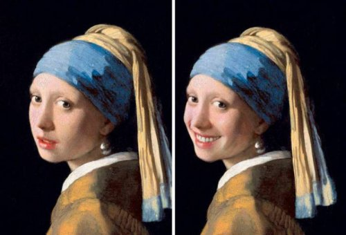 Как бы выглядели известные картины, если бы их герои улыбались (29 фото)