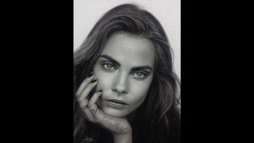 Гиперреалистичный карандашный портрет Кары Делевинь от U.N.I.C.O (фото + видео)