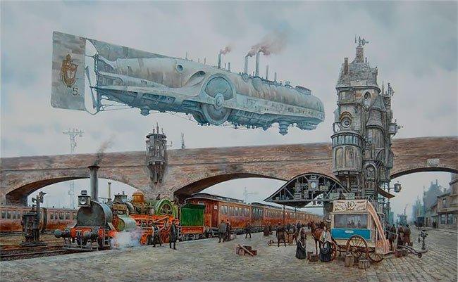 Эстетика стимпанка в викторианском Лондоне в картинах Вадима Войтехови