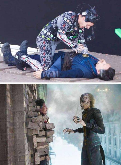 Сцены из популярных фильмов до и после добавления спецэффектов (13 фото)