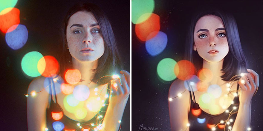 Портретный фотограф попросил 16 разных художников воссоздать его работ