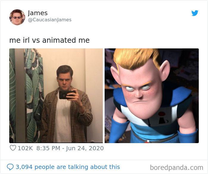 В Twitter запустили челлендж 'Я в реальности vs. я из мультфильма', и