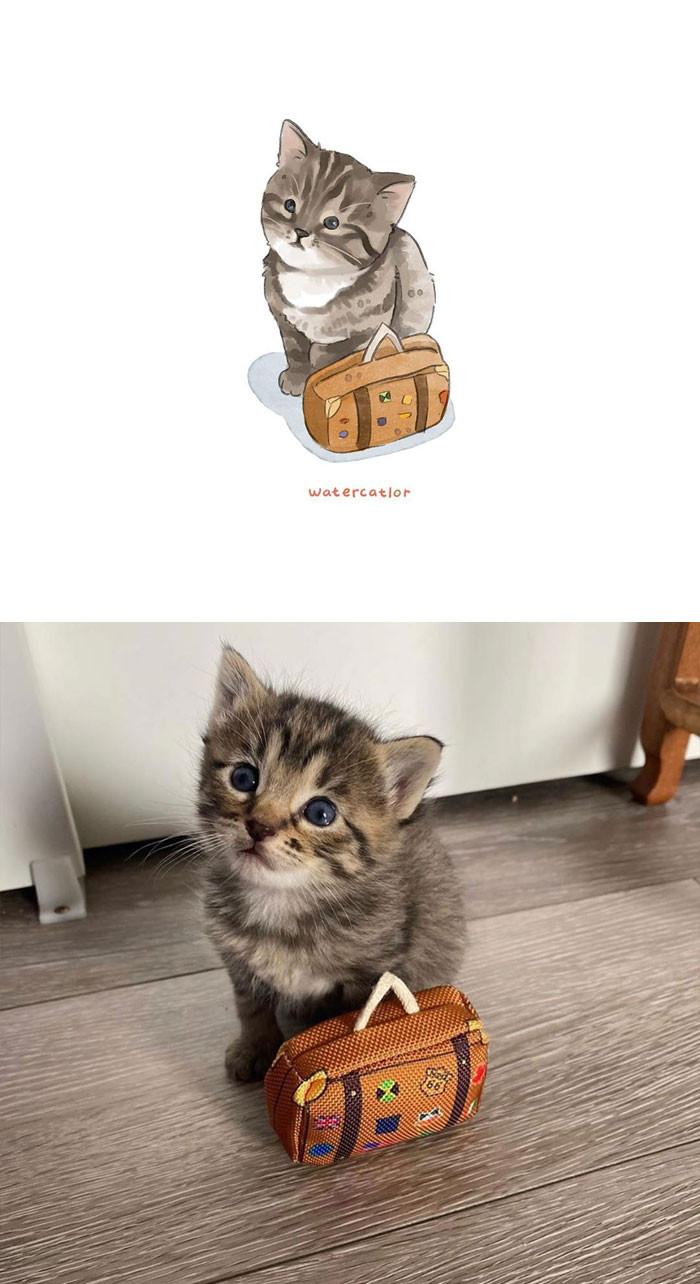 Акварельные версии популярных фотографий с кошками от Амелии Ризки (30