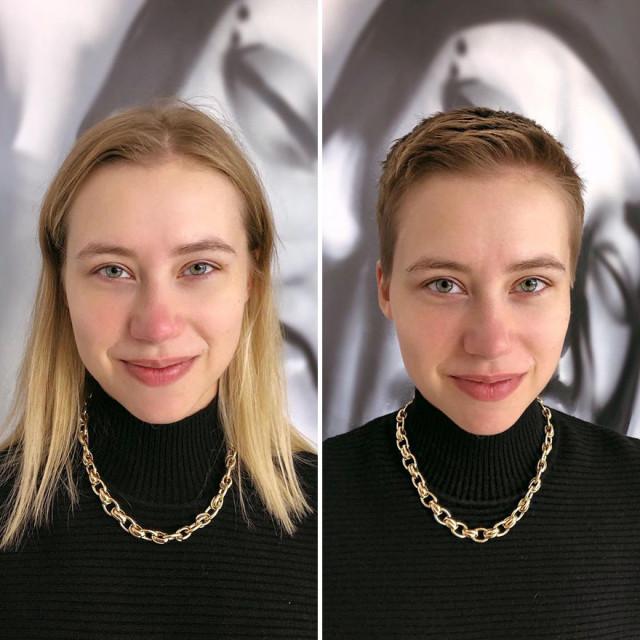 Московский парикмахер кардинально меняет образ своих клиенток, делая им короткие стрижки