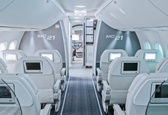 Внутри нового российского авиалайнера МС-21