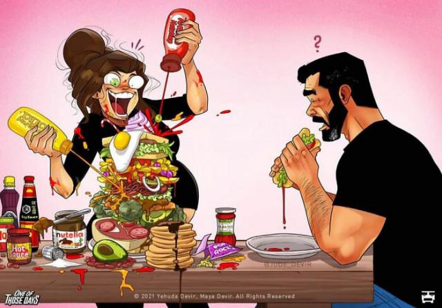 Новые забавные иллюстрации о повседневной жизни израильского художника Йегуды Девира