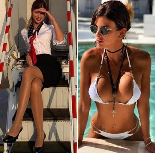 Стюардессы на работе и в социальных сетях (27 фото)