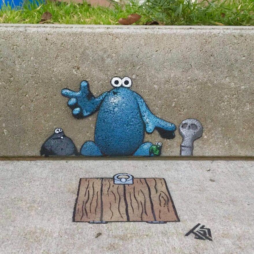 Забавные уличные работы художника, который вдохновляется окружающей ср