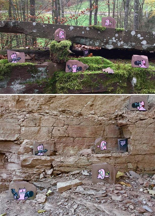 Забавные уличные работы художника, который вдохновляется окружающей средой (22 фото)