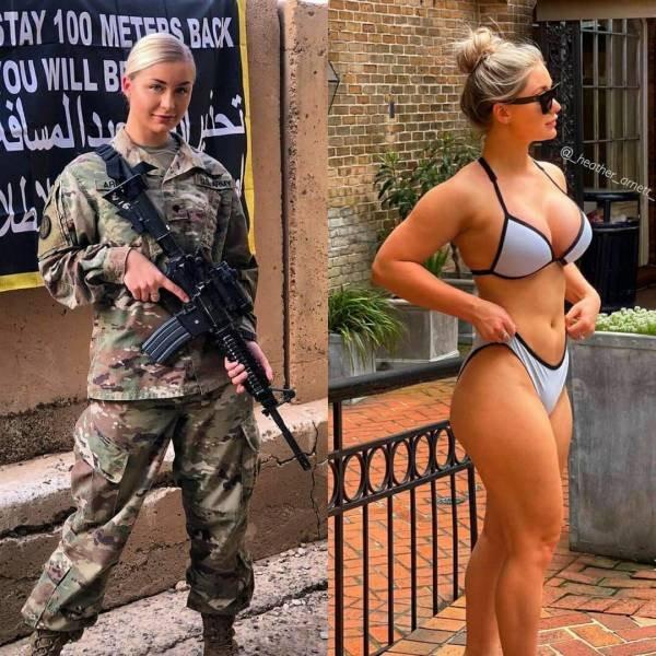 Девушки в униформе и без неё (38 фото)