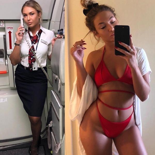 Стюардессы на работе и в социальных сетях (17 фото)