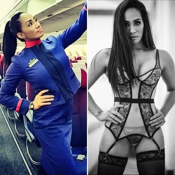 Стюардессы в униформе и без неё (17 фото)
