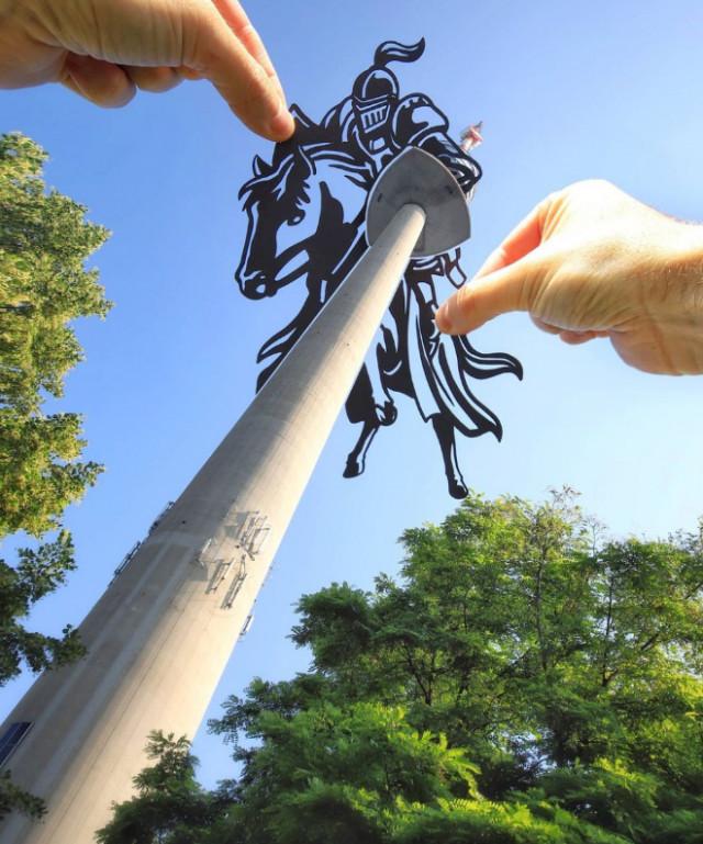 Художник преображает достопримечательности, забавно используя вырезки из бумаги
