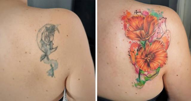 Креативные кавер-ап татуировки, благодаря которым люди избавились от старых или неудачных тату