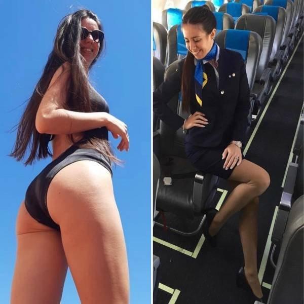 Стюардессы в униформе и без неё (12 фото)