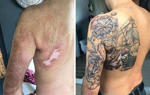 27 кавер-ап татуировок, с помощью которых тату-мастера превратили изъяны кожи в произведения искусства