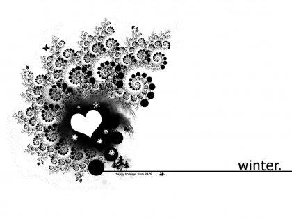 Влюблённые обои на зимнюю тему (1024х768)