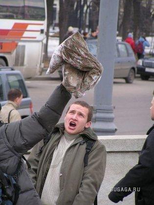 Битва подушками в Москве, центр города.