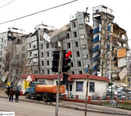 Как в Москве не совсем удачно дом взрывали (19 фотографий )