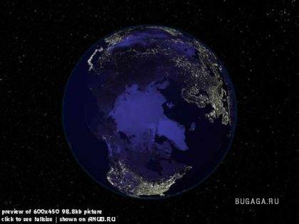 Фото Земли из космоса в ночное время