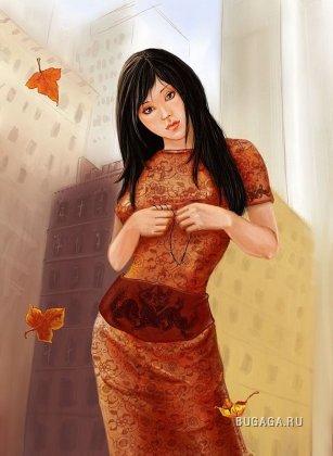 как нарисовать девушку осень:
