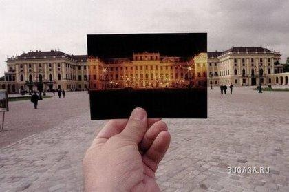 ФОТО КРЕАТИВ! Большое и маленькое! На фоне реальное изображение, а в руках картинки.